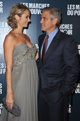 Stacy Keibler and George Clooney exchange a smile at 'The Ides of March' Paris Premiere at Cinema UGC Normandie in Paris, France,  on October 18, 2011