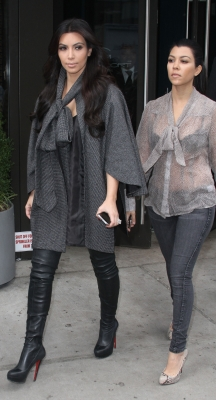 Kim Kardashian and Kourtney Kardashian are spotted on the streets of New York City on October 20, 2011