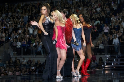 Victoria Beckham, Emma Bunton, Melanie Chisholm, Geri Halliwell, Melanie Brown of the Spice Girls perform on stage during The Return of Spice Girls World Tour at the O2 Arena, London, on January 16, 2008