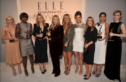 Honorees Naomi Watts, Viola Davis, Michelle Pfeiffer, Barbra Streisand, Jennifer Aniston, Editor-in-chief of ELLE Robbie Myers, honorees Stacey Snider, Freida Pinto, and Evan Rachel Wood attend ELLE&#8217;s 18th Annual Women in Hollywood Tribute held at the Four Seasons Hotel Los Angeles at Beverly Hills in Beverly Hills, Calif. on October 17, 2011 