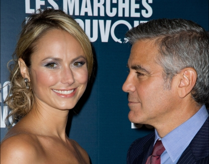 Stacy Keibler and George Clooney exchange a smile at &#8216;The Ides of March&#8217; Paris Premiere at Cinema UGC Normandie in Paris, France, on October 18, 2011 