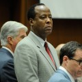 Defense attorney J. Michael Flanagan, Dr. Conrad Murray and defense attorney Ed Chernoff in court on November 3, 2011 in Los Angeles
