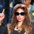 La Toya Jackson gestures on arrival outside the courthouse ahead of the announcement of the verdict from his doctor's trial in Los Angeles on November 7, 2011
