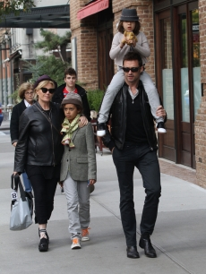 Deborra-Lee Furness, son Maximillian Jackman, daughter Ava Eliot Jackman and Hugh Jackman are seen arriving at Laughing Man Marketplace in Manhattan on October 23, 2011