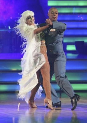 Karina Smirnoff and J.R. Martinez perform their 'Ghostbusters' dance on 'Dancing with the Stars,' Oct. 31, 2011