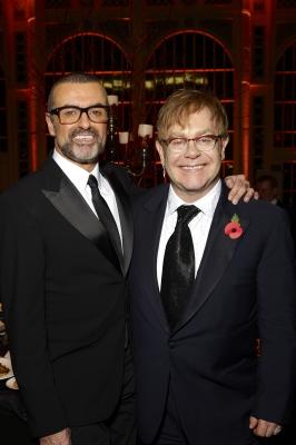 George Michael and Sir Elton John attend a charity performance benefiting the Elton John AIDS Foundation&#8217;s newly created Elizabeth Taylor Memorial Fund at the Royal Opera House in London, England, on November 6, 2011