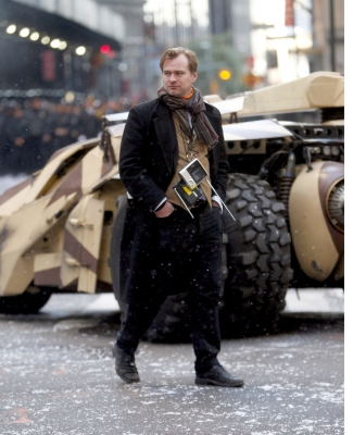 Director Christopher Nolan takes a stroll on the set of &#8216;The Dark Knight Rises&#8217; in New York City on November 6, 2011