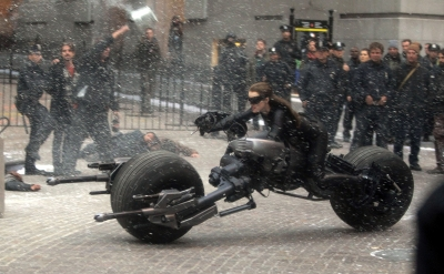 Catwoman shoots a scene for the upcoming film 'The Dark Knight Rises' in New York City on November 6, 2011