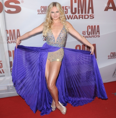 Laura Bell Bundy arrives at the 45th annual CMA Awards at the Bridgestone Arena in Nashville, Tennessee on November 9, 2011