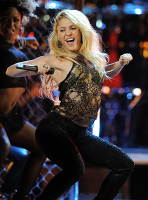 Shakira performs during the 12th Annual Latin Grammy Awards in Las Vegas, Nevada, on November 10, 2011