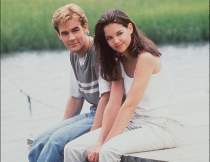James Van Der Beek and Katie Holmes seen in a promo shot for &#8216;Dawson&#8217;s Creek&#8217; in 1998