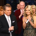 Regis Philbin and Kelly Ripa on set during Regis Philbin's Final Show of 'Live! with Regis & Kelly' in New York New York on November 18, 2011