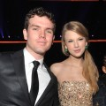Taylor Swift and brother Austin Swift are seen at the 2011 American Music Awards held at Nokia Theatre L.A. LIVE in Los Angeles on November 20, 2011