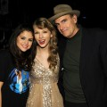 Selena Gomez, Taylor Swift and James Taylor pose during the 'Speak Now World Tour' at Madison Square Garden in New York City on November 22, 2011