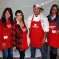 Jennifer Love Hewitt, Kim Kardashian, Kogi BBQ chef Roy Choi and Zoe Saldana attend the Los Angeles Mission's 75th anniversary celebration and serving of it's traditional Thanksgiving meal at the Los Angeles Mission on November 23, 2011