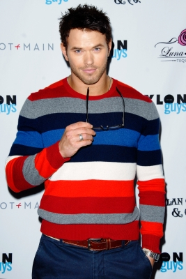 Host and Nylon November cover star Kellan Lutz arrives, in Dylan George and his own clothing line Abbot + Main, at the Nylon Guys and Dylan George, Abbot and Main party, sponsored by Luna Rosa Tequila at The Beverly, Los Angeles, Nov. 10, 2011
