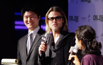 Brad Pitt is seen at the &#8216;Moneyball&#8217; South Korea premiere at Coex Megabox in Seoul, South Korea on November 15, 2011 