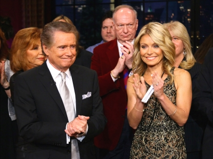 Regis Philbin and Kelly Ripa on set during Regis Philbin&#8217;s Final Show of &#8216;Live! with Regis &amp; Kelly&#8217; in New York New York on November 18, 2011