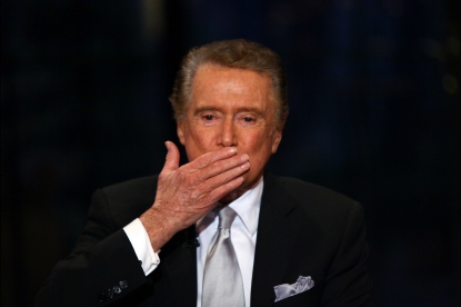 Regis Philbin on the set during his final &#8216;Live! with Regis &amp; Kelly&#8217; on November 18, 2011 in New York