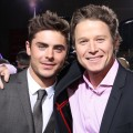 Zac Efron and Billy Bush hug it out on the red carpet at the &#8216;New Year&#8217;s Eve&#8217; premiere in Hollywood on December 5, 2011