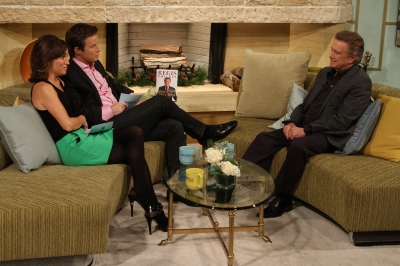 Regis Philbin chats with Billy Bush and Kit Hoover on Access Hollywood Live on November 30, 2011
