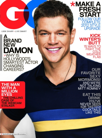 Matt Damon on the cover of the January 2012 issue of GQ
