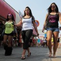Snooki, Deena and Sami are seen in a shot from Season 5 of MTV's 'Jersey Shore'