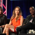 Judges Steven Tyler, Jennifer Lopez, and Randy Jackson speak onstage during the 'American Idol' panel during the FOX Broadcasting Company portion of the 2012 Winter TCA Tour at The Langham Huntington Hotel and Spa, Pasadena, on January 8, 2012