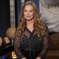 Patrick Swayze's widow, Lisa Niemi, poses backstage on the set of Access Hollywood Live on January 9, 2012
