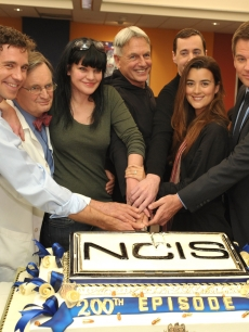 Brian Dietzen, David McCallum, Pauley Perrette, Mark Harmon, Sean Murray, Cote de Pablo and Michael Weatherly celebrate the 200th episode of 'NCIS,' Valencia, Calif., January 3, 2011