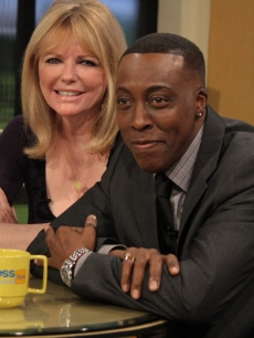 Cheryl Tiegs and Arsenio Hall visit Access Hollywood Live, Burbank, Calif., January 4, 2011