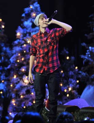 Justin Bieber performs in concert for a special acoustic Christmas show in Toronto at Massey Hall on December 21, 2011
