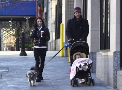 Bethenny Frankel and Jason Hoppy are seen with daughter Bryn on the streets of Manhattan in New York City on January 2, 2012