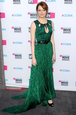 Emma Stone sports green at the 17th Annual Critics' Choice Movie Awards held at The Hollywood Palladium in Los Angeles on January 12, 2012