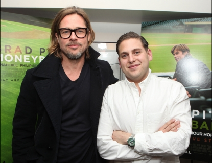 Brad Pitt and Jonah Hill are seen a 'Moneyball' screening and Q&A at Sony Pictures Studios in Culver City, Calif. on December 19, 2011