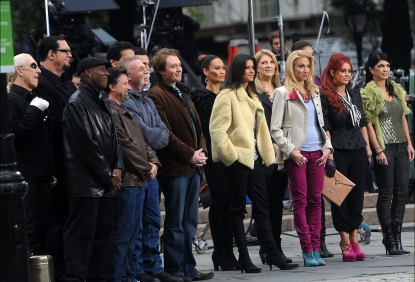 Arsenio Hall, Dee Snider, Lou Ferrigno, Clay Aiken, Penn Jillette, Paul Teutel Sr., Marco Andretti, Dayana Mendoza, Tia Carrere, Patricia Valesquez, Lisa Lampanelli, Debbie Gibson, Aubrey O'Day and Teresa Giudice seen on the set of 'Celebrity Apprentice' in New York City on October 26, 2011