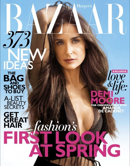 Demi Moore on the February 2012 cover of Harper&#8217;s Bazaar
