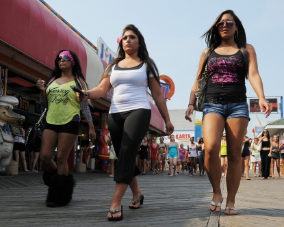 Snooki, Deena and Sami are seen in a shot from Season 5 of MTV&#8217;s &#8216;Jersey Shore&#8217;