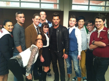 Ricky Martin and the cast of 'Glee' on January 5, 2012