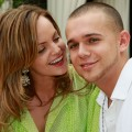 Mena Suvari and Simone Sestito appear at the Azure pool at The Palazzo in Las Vegas on August 22, 2009 