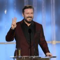 Ricky Gervais is seen onstage during the 69th Annual Golden Globe Awards at the Beverly Hilton International Ballroom in Beverly Hills, Calif. on January 15, 2012