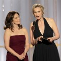 Tina Fey and Jane Lynch present an award onstage during the 69th Annual Golden Globe Awards at the Beverly Hilton International Ballroom in Beverly Hills on January 15, 2012