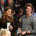 Maria Shriver and Patrick Schwarzenegger are seen at a game between the Dallas Mavericks and the Los Angeles Lakers at Staples Center in Los Angeles on January 16, 2012