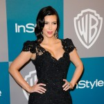 Kim Kardashian arrives at 13th Annual Warner Bros. And InStyle Golden Globe Awards After Party at The Beverly Hilton hotel in Beverly Hills, Calif. on January 15, 2012