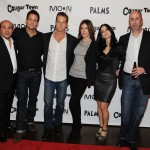 The cast of 'Cougar Town' — Ian Gomez, Josh Hopkins, Brian Van Holt, Christa Miller, Courteney Cox and Bob Clendenin — hit a viewing party at Moon Nightclub inside the Palms Casino Resort on January 21, 2012