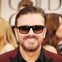 Ricky Gervais arrives at the 69th Annual Golden Globe Awards held at the Beverly Hilton Hotel on January 15, 2012 in Beverly Hills