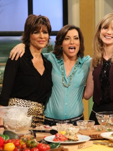 Kit Hoover joins guest host Lisa Rinna and Courtney Thorne-Smith for an Atkins cooking segment on Access Hollywood Live on January 25, 2012