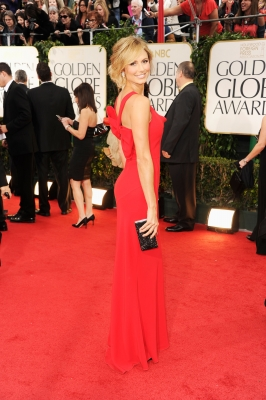 Stacy Keibler arrives at the 69th Annual Golden Globe Awards held at the Beverly Hilton Hotel in Beverly Hills on January 15, 2012