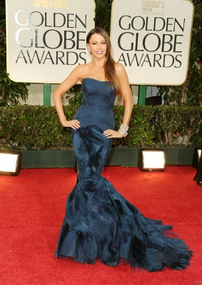 Sofia Vergara arrives at the 69th Annual Golden Globe Awards held at the Beverly Hilton Hotel in Beverly Hills on January 15, 2012