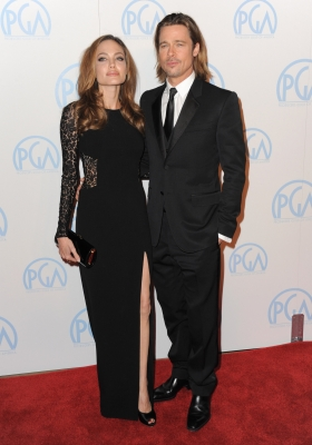 Angelina Jolie & Brad Pitt arrive at The 23rd Annual Producers Guild Awards at The Beverly Hilton hotel on January 21, 2012